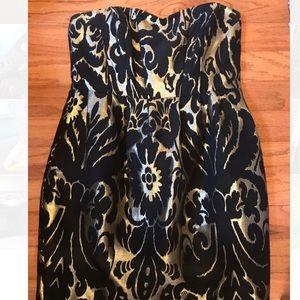 Sweatheart Metallic Damask Cocktail Dress